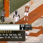#5 TCU has a 20-3 over Texas at Half. Trevone Boykin is 13/18, 106 yds 1 TD. Longhorns have 2 Turnovers. #TCUvsTEX http://t.co/geQVkDyd8l