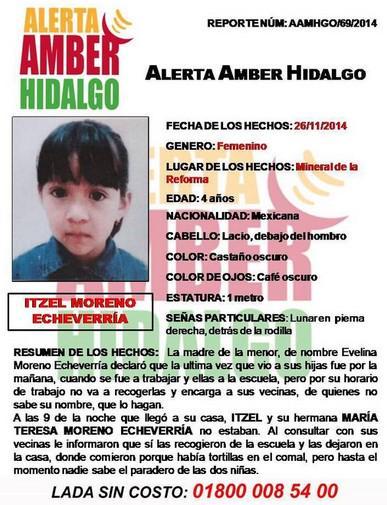 """mariana echeverria o (@marianaecheve): #AlertaAmber ITZEL  y MARÍA TERESA MORENO ECHEVERRÍA 4 y 8 años. RT  http://t.co/wU69Fq2mQS"""""""