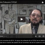En #VIDEO exige grupo de profesores de UNAM liberar a detenidos el 20 de noviembre http://t.co/28HlpAyHez #20NovMx http://t.co/2oGnJ9NKSn