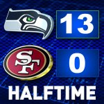 #SEAvsSF halftime score: #Seahawks 13, 49ers 0. Live game updates: http://t.co/SIBqUJ1AYf http://t.co/OYh8GHOrhG