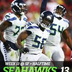 At halftime the Seahawks lead the 49ers, 13-0. Seattle outgained San Francisco 197-71 in the first half. http://t.co/1Tm9lFmn1J