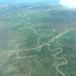 As we were approaching Dar, Ruvu river snaking into the Indian Ocean. http://t.co/LpDiT3x74p