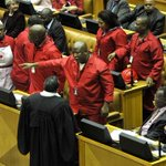 Headlines on eNCA: #Parliament voted last night to suspend the #EFF http://t.co/GCZvQbKc3N