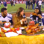 When you dominate on the road on Thanksgiving, you get to eat turkey at midfield #SNF http://t.co/jeUNbG3UdZ
