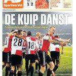 De cover van AD Sportwereld. Feyenoord is nu al zeker van overwintering in de Europa League! #feysev http://t.co/9XoR88JQ6k