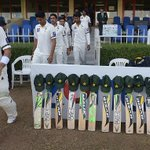 Players walk past bats & caps placed outside dressing room to match the campaign #putoutyourbats #RIPPhilHughes http://t.co/854khPD1Im