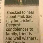 Times of India Sports Editor committed the biggest crime possible by an Indian-killed Sachin. #PhilHughes #cricket http://t.co/iI6a0bTbFk