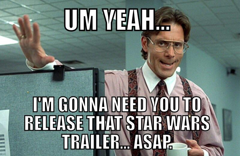 Hey J.J. Abrams, about that Star Wars #TheForceAwakens trailer coming to Apple's @iTunesTrailers http://t.co/2qkngzQCmv