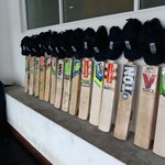 England cricket teams bats outside their dressing room in memory of Phillip Hughes #putoutyourbats #RIPPhilHughes http://t.co/pJsjeptMki