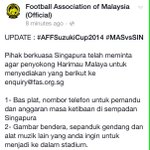 Singapore FA wants these from Harimau Malaya fans. #AFFSuzukiCup http://t.co/eqxevbEyjY