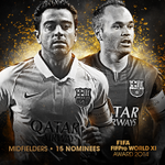 ¡Felicitaciones! @AndresIniesta8 & #Xavi with your nomination for the @FIFAcom @FIFPro #WorldXI! [@FCBarcelona] http://t.co/lhiqqo3RQX