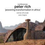 """Hoy 12h, conferencia del #arquitecto sudafricano Peter Rich """"Powering transformation in Africa"""" Aula Magna @ETSA_unav http://t.co/de70Mpd2O8"""