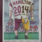 Cover of @TheSpec football champ. special section featuring brill cover by @mackaycartoons #ticats #vanier #greycup http://t.co/3LIWLJphCR