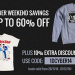 Up to 60% off on the official merch store this weekend! Additional 10% off with code 1DCYBER14 http://t.co/3lYkp1yvlL http://t.co/t5lOvJyPAL