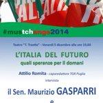 #Bitonto 5 dicembre 2014 L Italia del Futuro #AttilioRomita intervista #Gasparri #Fitto @gasparripdl @RaffaeleFitto http://t.co/qBKgb3fled