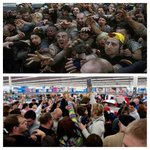 Spot the difference? One of them are Zombies the other one are Black Friday shoppers. http://t.co/TYUk2pWALm
