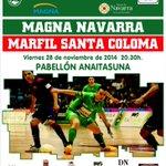Gran partido de liga hoy en Pamplona. ¡Todos al Anaitasuna! A las 20.30 horas ante Marfil Santa Coloma. http://t.co/rSUxiai9q0