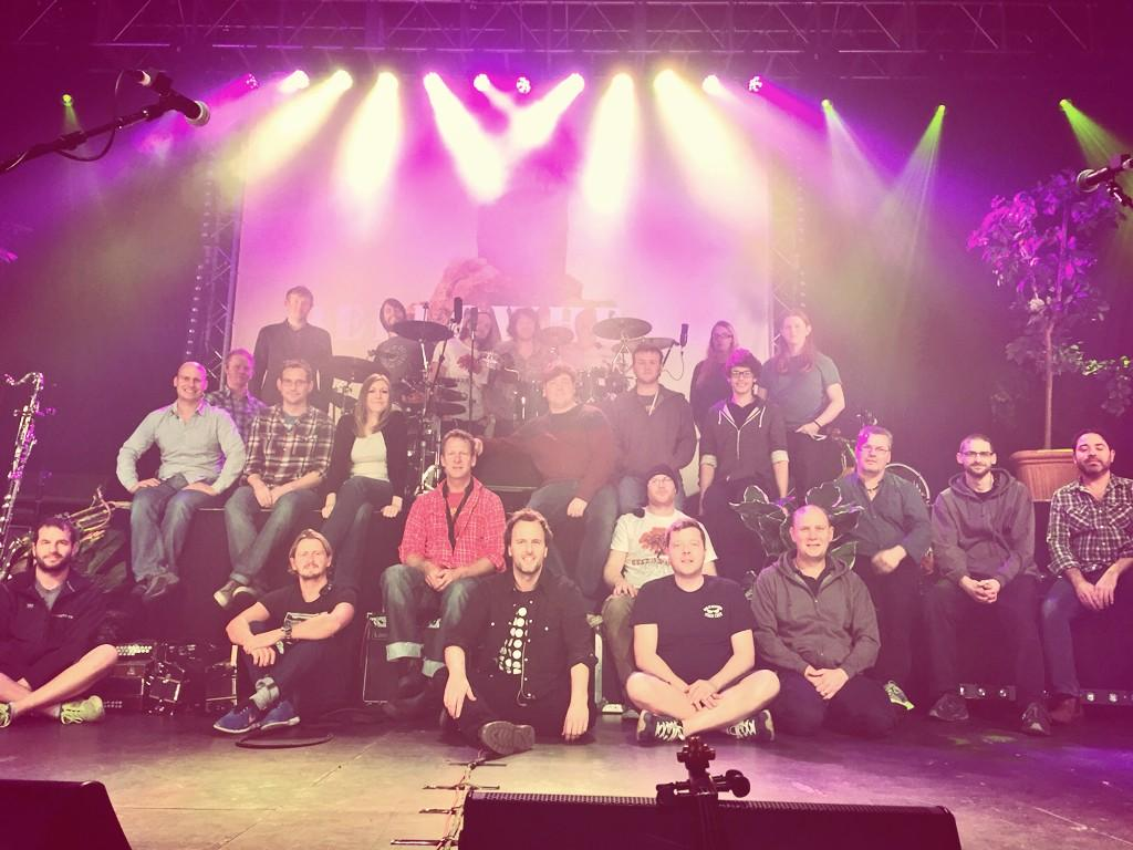 It takes this many people to put on a Bellowhead show! We couldn't do it without them. Thanks to our brilliant crew. http://t.co/0qNkyi0YjH