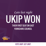 Late last night UKIP won their first seat on East Yorks Council in Bridlington. Vote UKIP. Get UKIP. Share around! http://t.co/FKiRrwWeLo
