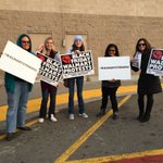 Customers at #stockton Walmart didnt cross our picket line and joined our protest! @SanJoaquinCLC #walmartstrikers http://t.co/w2D8Rifq4N