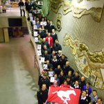 HMCS Tecumseh Ships Company showing their support for the Calgary Stampeders for the upcoming Grey Cup. #GreyCup http://t.co/zMlvainPjp