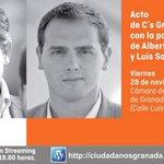 A hora y media de que empiece el gran acto de @CsGranada con @luissalvador y @Albert_Rivera ¡No te lo pierdas! http://t.co/1CKxjGIXeK