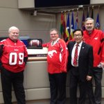 Lots of red in the #yyccc chamber today. Go Stamps! #cbc http://t.co/NfJJFPOD2b