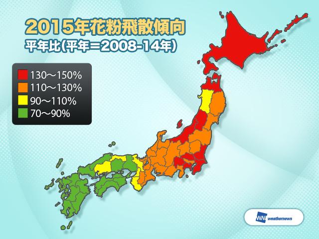 ウェザーニューズは、関東や東海では2014年と比べて2015年の花粉飛散量は非常に多くなるため、万全の対策が必要であると発表しました。日本地図が真っ赤(平年比130%以上)です(泣)。 http://t.co/HIzftvQaGT http://t.co/wNoJVepjZB