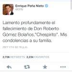 """.@EPN lanza inmediatamente un tuit por la muerte de """"Chespirito"""", y para los 43 normalistas nada #YaMeCanse http://t.co/GRonb86cxJ"""