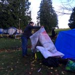 Man behind First Nations support resource development signs finds them torn down by protesters tent #burnabymountain http://t.co/FcRXGft8I4