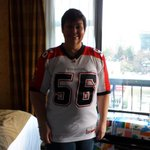 Repping the Tom Pate winner and all round good guy @randychevrier today in Vancouver. #GreyCup http://t.co/ozYX0bzwmJ