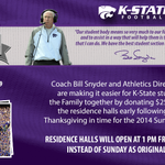 #KState students, residence halls are now open! Well see you at 3pm tomorrow in BSFS for #12 #KStateFB vs. KU! http://t.co/63gCIeMuuF