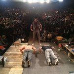 #Dogpound representing today @TheRiverPlay. Getting in the giving spirit w 50 push ups. @broadwaycares Photo by BR