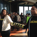 """""""@UrbanCusp: BREAKING: Protestors chain themselves to BART train, shutting down West Oakland station & causing... http://t.co/qQY8fkYUbG"""""""