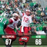 WKU knocks off undefeated Marshall in OT 67-66! Doughty throws 8 TDs to set C-USA record. Lets go bowling baby! http://t.co/Max5y3SKIh
