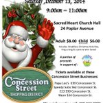 Breakfast with Santa in @ConcessionBIA Dec 13.Tickets at @papa_leos @etwentythree,More #534,Speedy Subs #562 #HamOnt http://t.co/8A3wI5bwPj