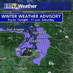 """Winter Weather Advisory for 1-3"""" of SNOW in spots around #Seattle and Puget Sound tonight/Saturday AM. #wasnow http://t.co/9263DCOwoD"""