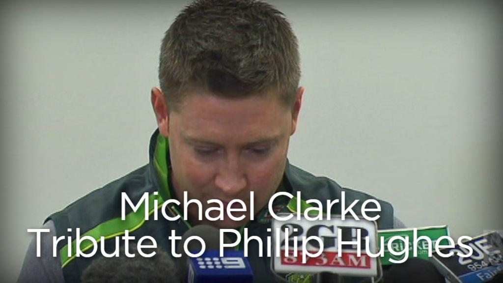 ABC Grandstand (@abcgrandstand): VIDEO: You can watch Michael Clarke's heart-breaking tribute to #PhilHughes here: http://t.co/e5MFozFWu8 #cricket http://t.co/PHRJG5RYxO