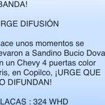 •Nos llega información #URGENTE reportan que chevy levantó a Sandino Bucio Dovalí en Copilco. #YaMeCansé http://t.co/MvIUBkIVKD