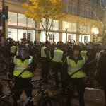 Police are stopping group of protesters from getting to Westlake Park, near the tree lighting. http://t.co/E1v4BnGfHB