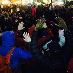 Protesters on knees at Westlake during Tree Lighting ceremony #ferguson http://t.co/3jSo5dmKMC