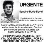 #SandinoBucio estudiante de la FFyL levantado en metro Copilco @ComiteDH132 @article19mex @lajornadaonline http://t.co/tPU1e9fbqa