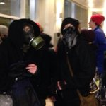 Some protestors wearing gas masks. http://t.co/zxv1w0pSTq