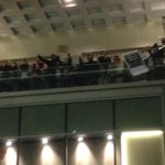 Protestors definitely disrupting festivities. Hosts say tree lighting going on. But kids cant sing carols #Q13FOX http://t.co/AE6pyc6DvQ