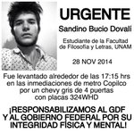 @ManceraMiguelMX a usted lo hago directamente responsable de lo que le pase a #SandinoBucio #YaMeCanse #Sandino http://t.co/Hql41XC1JU