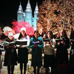 The Christmas Lights are on at Temple Square and the Sister Missionaries are singing carols. Merry Christmas! http://t.co/f4hoFM2q4F