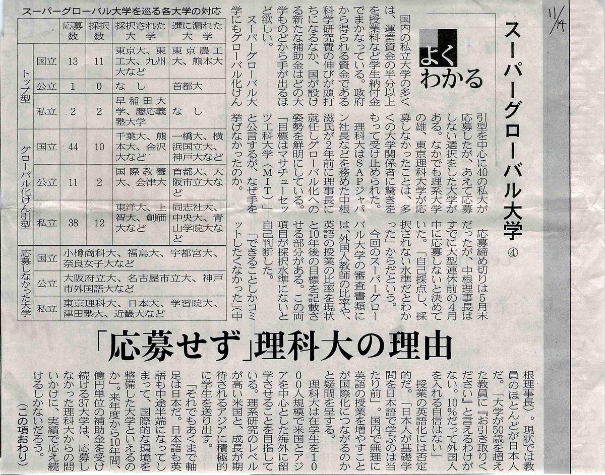 理科大はマトモな判断をしていると思う. RT @yksn22: 「応募せず」理科大の理由 #スーパーグローバル大学 4  #日経産業新聞 (2014/11/14) http://t.co/XsolBmZA7G
