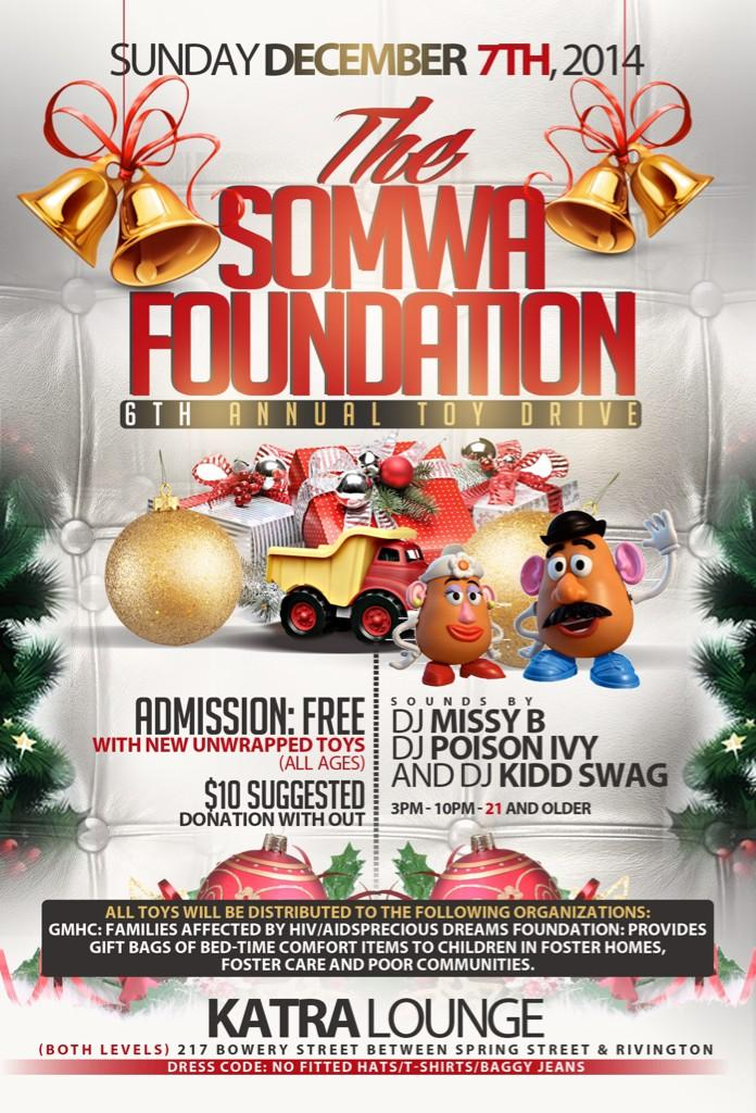 #Somwa toy drive 12/7/14 @ Katra Lounge. Supporting @PDFNY & @GMHC sounds by @djmissyb @Poisonivysworld @DJKIDDSWAG http://t.co/SsWLVf3oqN