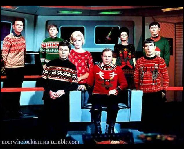 even the original startrek crew had their favorite ugly christmas sweaters christmas