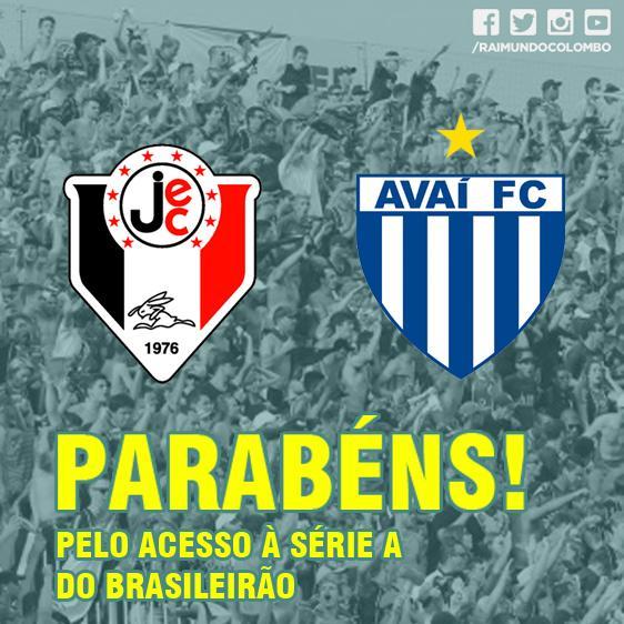 Parabéns ao Joinville e Avaí pelo acesso à Série A do Brasileirão! #FutebolCatarinense #Elite #OrgulhodeSC http://t.co/R6Q2JSWNi1